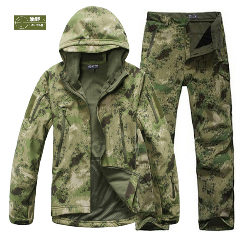 Men Fishing Trekking Hiking Waterproof Hunting Tactical SoftShell Outdoor Jackets Climbing Military Jackets Set Sport Army