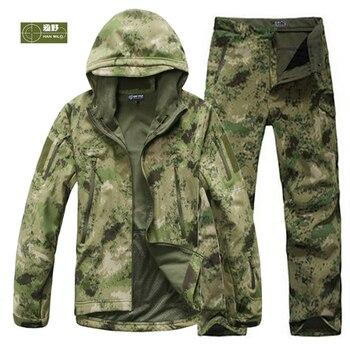 Men Fishing Trekking Hiking Waterproof Hunting Tactical SoftShell Outdoor Jackets Climbing Military Jackets Set Sport Army