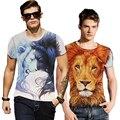 YM Hot Sale Cartoon Animal 3D T Shirts Lions Design Men's T Shirt Fashion 2016 Summer Short Sleeve Tops Tees Fitness Clothes B31