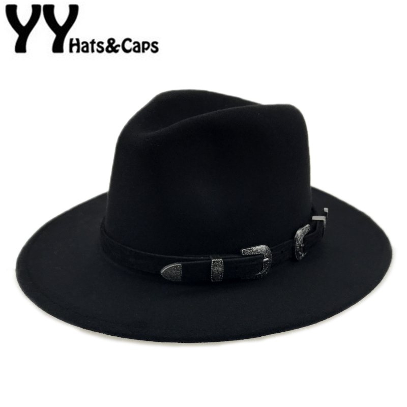 Special Felt Hat Men Fedora Hats with Belt Women Vintage Trilby Caps Wool Fedora Warm Jazz Hat Chapeau Femme feutre YY17094(China)