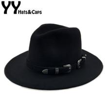 Chapeau en feutre Fedora pour hommes et femmes, Chapeau avec ceinture, casquettes Trilby, Vintage, de Jazz chaud, YY17094
