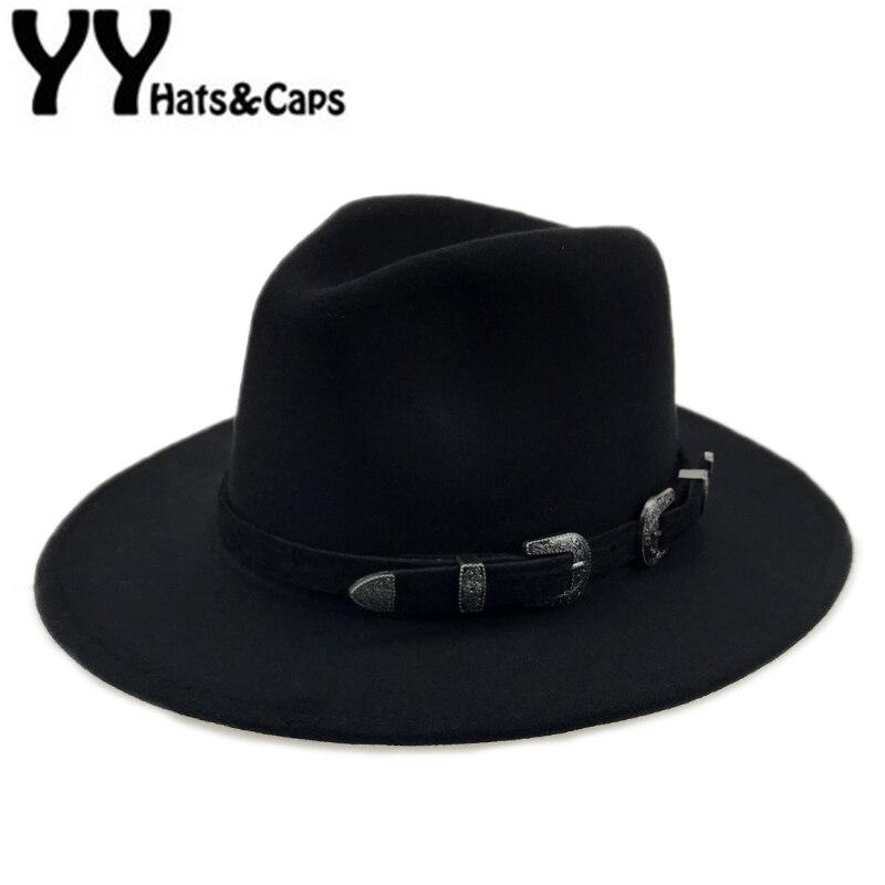 Especial de sombrero de fieltro de los hombres Fedora sombreros con cinturón mujeres Vintage sombrero de lana Fedora caliente Jazz sombrero Chapeau Femme feutre YY17094