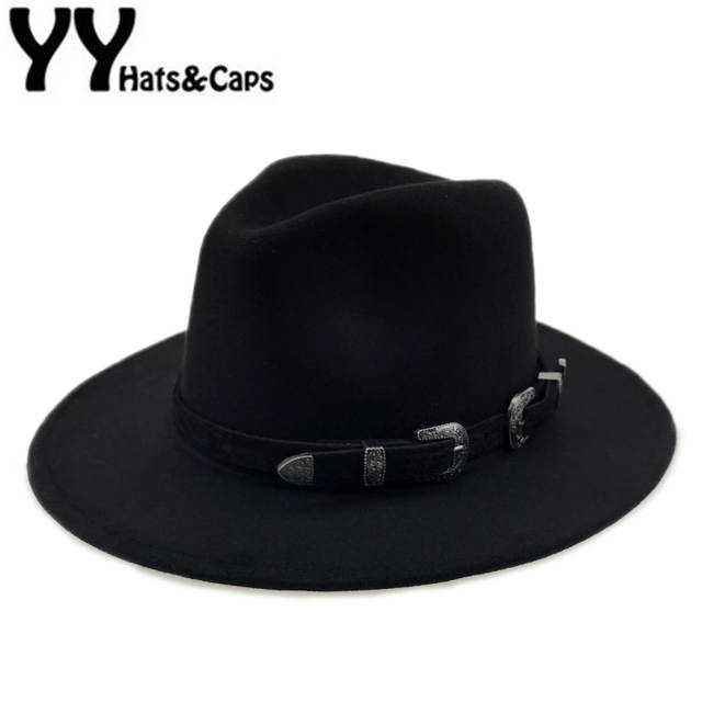 Special Felt Hat Men Fedora Hats with Belt Women Vintage Trilby Caps Wool  Fedora Warm Jazz 1fd1b9a7a6
