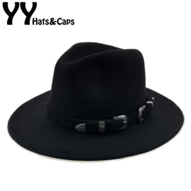 WELLDRESSED Wool Jazz Cap Hat for Women Trend Ladies Flat Brim Fedora Hats Felt,Black