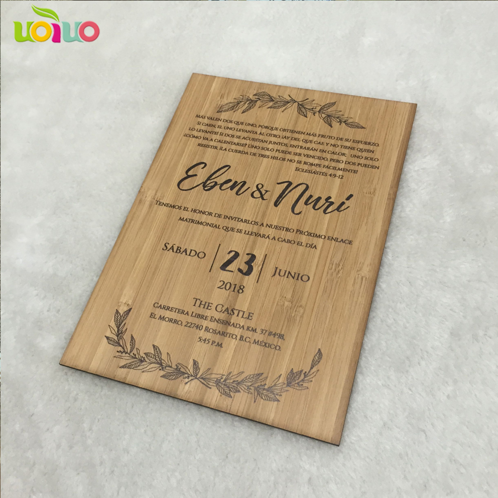 Us 24 9 Hot Sale Printing Wooden Wedding Cards Customized Scan Text Wooden Wedding Card Birthday Party Invitation Card In Cards Invitations From
