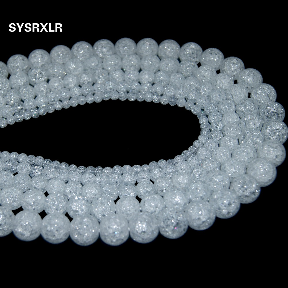 Didmeninė natūrali balta sniego krekingo kristalinio akmens - Mados papuošalai - Nuotrauka 3