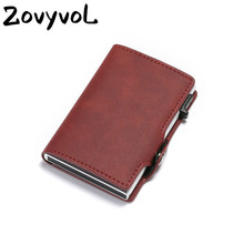 ZOVYVOL NEW  RFID Blocking Vintage Automatic Leather Credit Card Holder Metal Aluminum Business ID Cardholder Slim Wallet Purse rfid blocking 100% genuine leather credit card holder men aluminum metal business id cardholder multifunction slim mini wallet