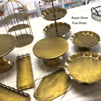 SWEETGO Gold cake stand set vintage cake tools cupcake tray home decoration dessert table party supplier bake ware storage racks