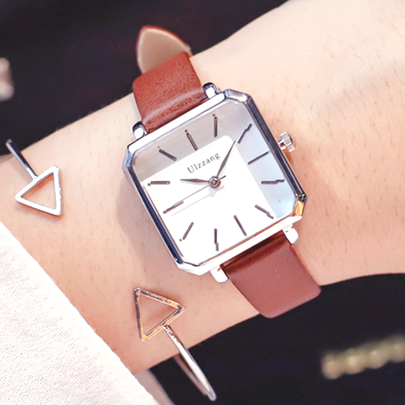 Женские кварцевые часы, винтажные квадратные наручные часы, браслет в подарочной коробке, 2019