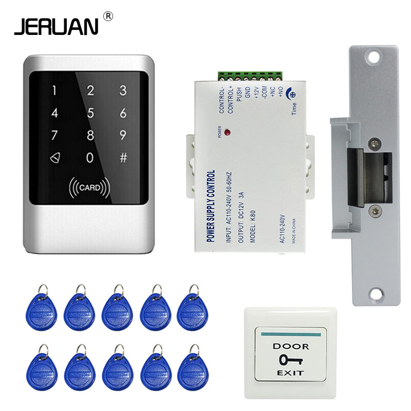 JERUAN Brand New DIY Waterproof Rfid Door Access Control Kit Set With Electric Strike Lock + 10 RFID keyfob Card In Stock цены онлайн
