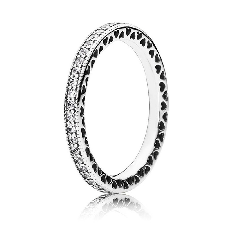 Authentic 925 Sterling Silver Hearts of Silver Stackable Ring For Women Wedding Engagement Birthday Gift Fine Pans Jewelry in Wedding Bands from Jewelry Accessories