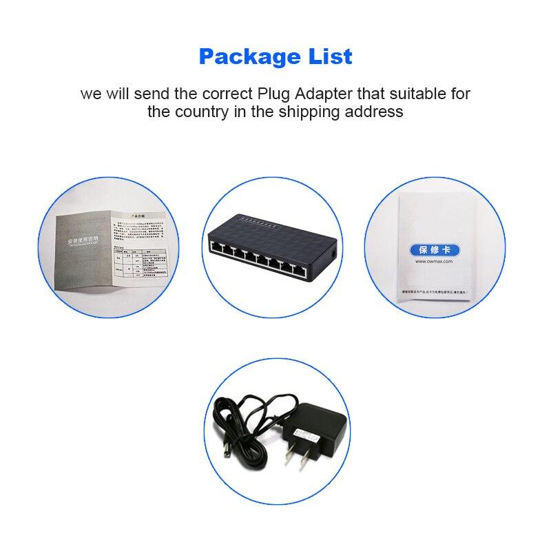 Network Switch 8 Ports 10/100Mbps Fast Ethernet RJ45 Desktop Switcher Lan Hub MDI Full/Half duplex exchange Ethernet Adapter