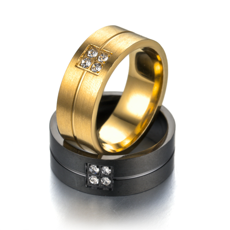 8mm Couple Ring Gold-Color Jewelry for Women Man Titanium Steel Lover Ring Stainless Steel Wedding Bands