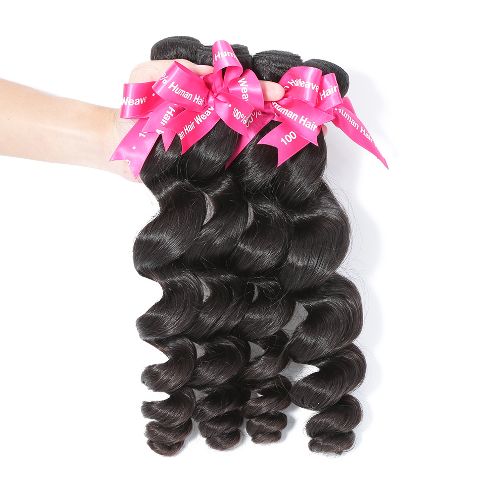 Luvin Peruvian Loose Wave Virgin Hair Weft 4 Pcs/Lot 100% Unprocessed Human Hair Weave Bundles Soft Hair No Shedding No Tangles-in 3/4 Bundles from Hair Extensions & Wigs    1