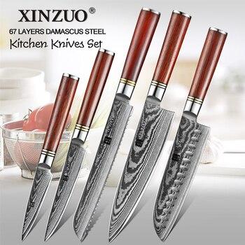 XINZUO 5 sztuk zestaw sztućców kuchennych ze stali damasceńskiej Chef Santoku Paring nóż do chleba, zestaw ze stali nierdzewnej z rękojeścią z drewna różanego