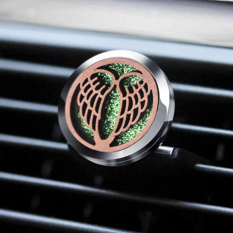 วินเทจไม้ Lotus Aroma Locket Car Air Freshener น้ำหอมสแตนเลส Locket Essential Oil Diffuser น้ำมันหอมระเหยเครื่องประดับ