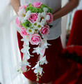 Drop Shaped Pink Waterfall Tassel Bridal Bouquets Artificial Rose Daisy Greenish Lily Bride Holding Flowers Bridesmaids Bouquets