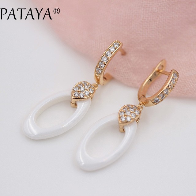 PATAYA New Earring Gift Black White Ceramics Long Dangle Earrings Women Gift 585 Rose Gold Natural Zircon Luxury Wedding Jewelry