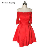 Real Photo Red A Line Lace Homecoming Dresses 2017 with Half Sleeve Knee Length 8th grade Graduation Gowns sweet 16 dresses H14
