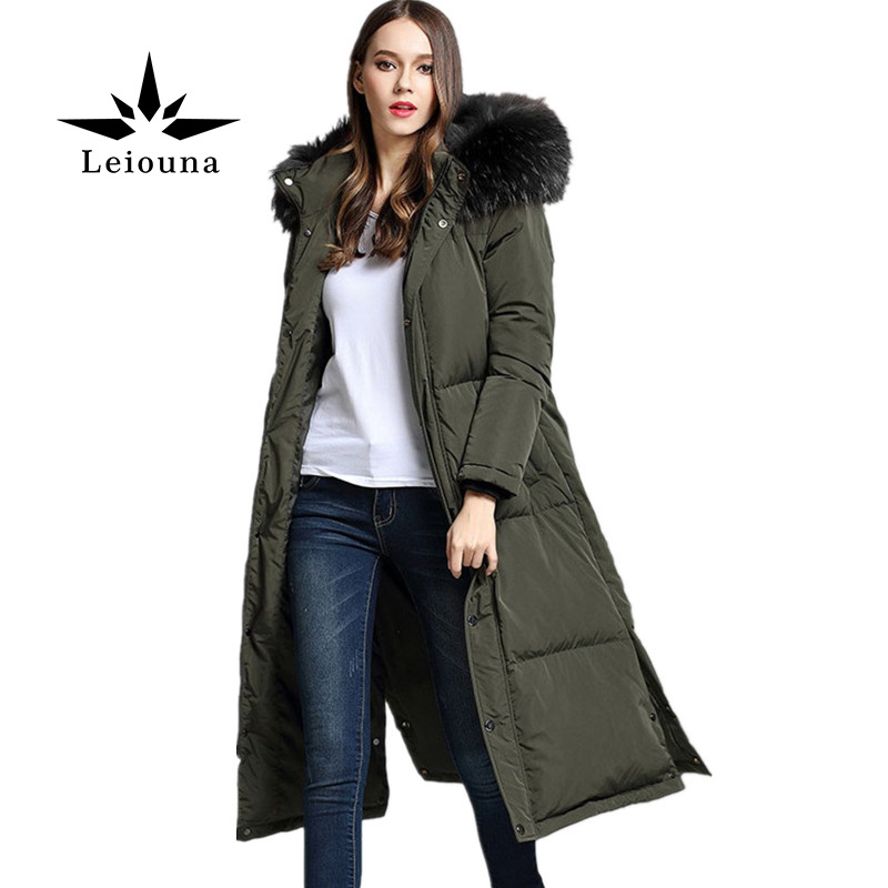 Leiouna Hot High-quality Women Long Ladies Female Winter Jacket Coat Down Cotton Parkas Fur Collar Hooded Thick Warm Basic 2015 women winter warm long down parkas female slim down cotton jacket hooded faux fur collar ladies elegant thick coat h5310