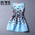 Girls Summer Dress 2017 Kids Dresses For Girls Of 12 Years Teenagers Sleeveless Printed Big Size Princess Dress Robe Filles 7 14