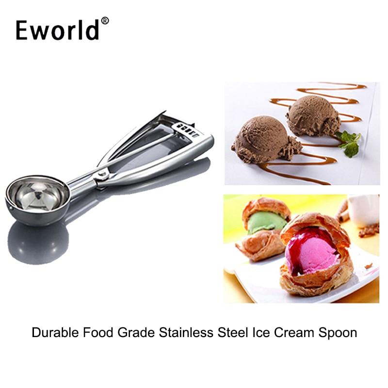 Eworld Durable 304 Food Grade Stainless Steel IceCream Mash Potato Scoop Convenient Ice Cream Stacks Spoon Useful Kitchen Tools