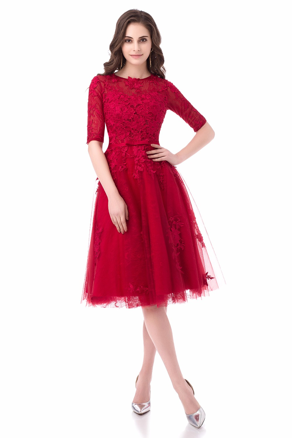 A-line Lace Appliques Half Sleeves Elegant Short Evening Dress