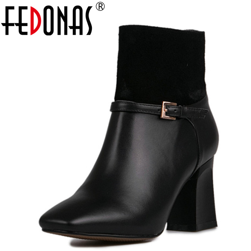 FEDONAS High Quality Ankle Boots Cow Suede Leather Women Boots Autumn Winter Boots Square Toe High Heels Boots Shoes Woman fashion sexy short curly men wig for business heat resistant synthetic japanese fiber male light auburn hair free shipping