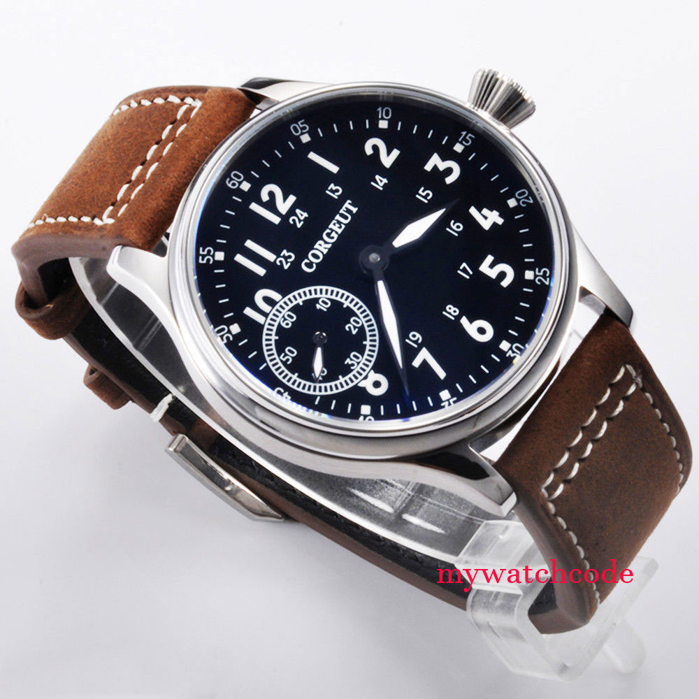 Здесь продается  44mm Corgeut black dial luminous asia 6497 hand winding movement mens wristwatch  Часы