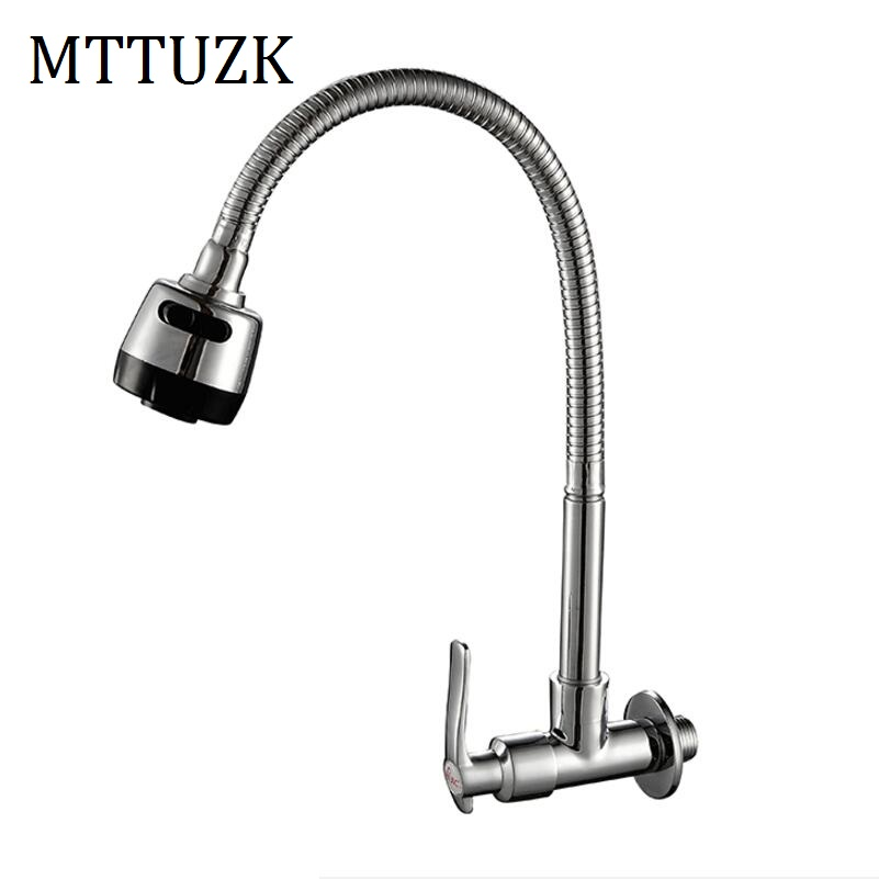 Free Shipping In wall mounted Copper kitchen faucet fold expansion DIY kitchen sink tap Washing machine