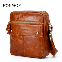 FONMOR2018 New Fashion High Quality Multi Purpose Genuine Leather Men S Zipper Shoulder Messenger Bag Men