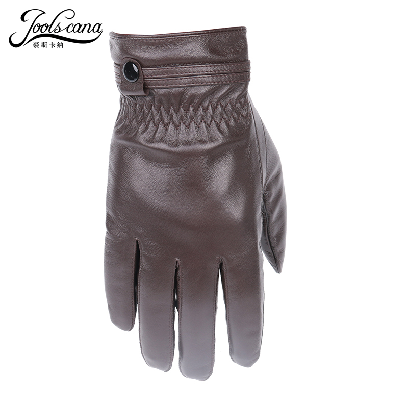 JOOLSCANA Leather Gloves For Men Winter Autumn Fashion Sensory Gloves Made Of Italian Imported Natural Lamb Sheepskin Wrist