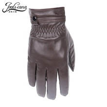 Natural  italian  lamb  leather gloves for men autumn winter drive gloves warm sheepskin touch screen Gloves 2017new free ship