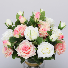 CHENCHENG 10 Pcs 2 Heads Rose Artificial Flowers Silk High Quality for Wedding Decoration Winter Fake Big Flowers Red Home Decor