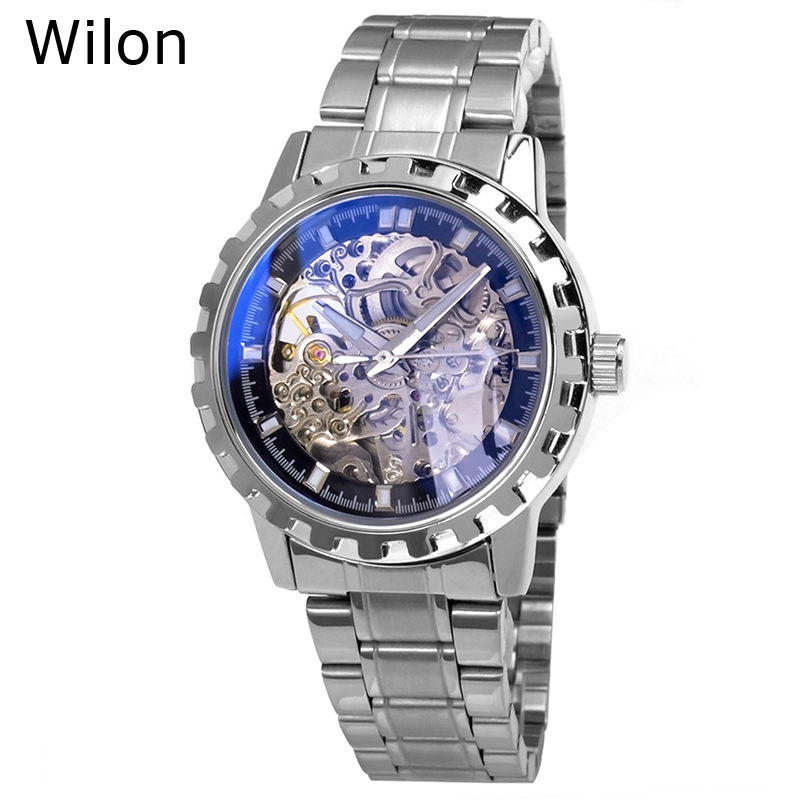 Hot Sell Wilon Brand Men's Automatic Mechanical Wristwatches Male Personality Hollow Full Stainless Steel Business Dress Watches good quality hk brand wilon mechanical hand wind man gift watches business full stainless steel hollow luxury male dress watch