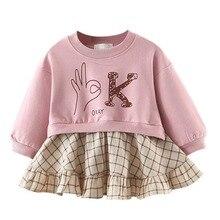 2019 Spring New Arrival Baby Girls Dresses Long Sleeve Plaid Dress For Girls Kids Children Princess Clothes Dresses