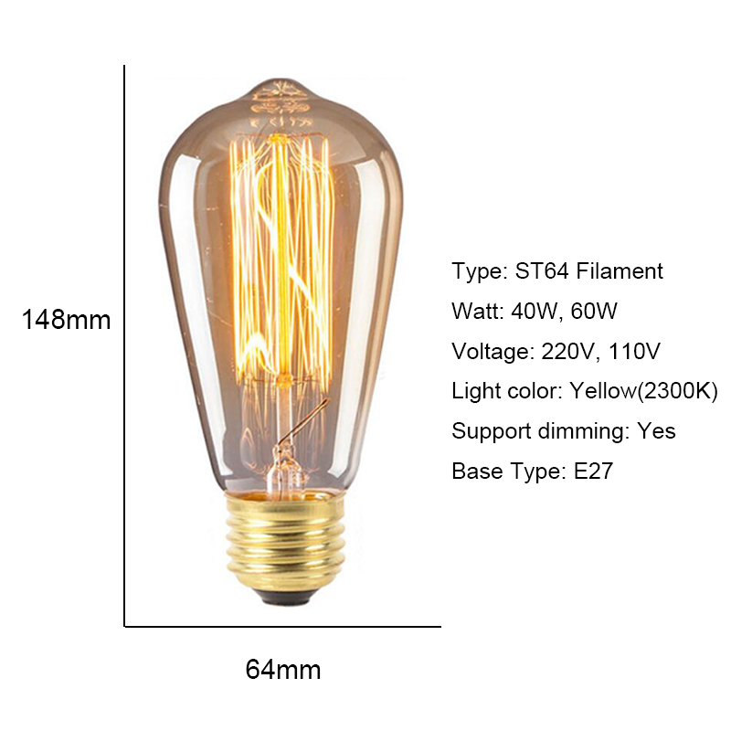 Купить с кэшбэком 6 Pack ST64 Vintage Edison Incandescent Bulb E27 Dimable Filament Lighting 40W 60W Filament Industrial Home Loft Decor 110V 220V