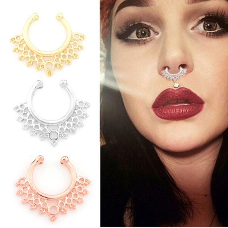 2019 New 2pcs Alloy Septum Fake Nose Ring Piercing For Women Party