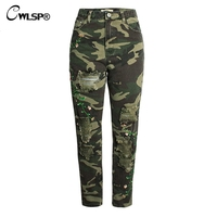 CWLSP Floral Embroidery Camouflage Jeans Woman Skinny Pencil Trousers Ripped Casual Plus size Pants 2018 jean femme QL3853