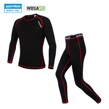 WOSAWE Compression Base Layer Outdoor Sports Jersey Tights & Pants Suit Cycling Running Fitness Workout Gym Clothing Long Johns