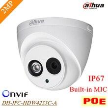 Original Dahua POE IP 2mp Cámara Micrófono Incorporado IPC-HDW4233C-A IP67 Impermeable Al Aire Libre Onvif IR Distancia 50 m DH-IPC-HDW4233C-A