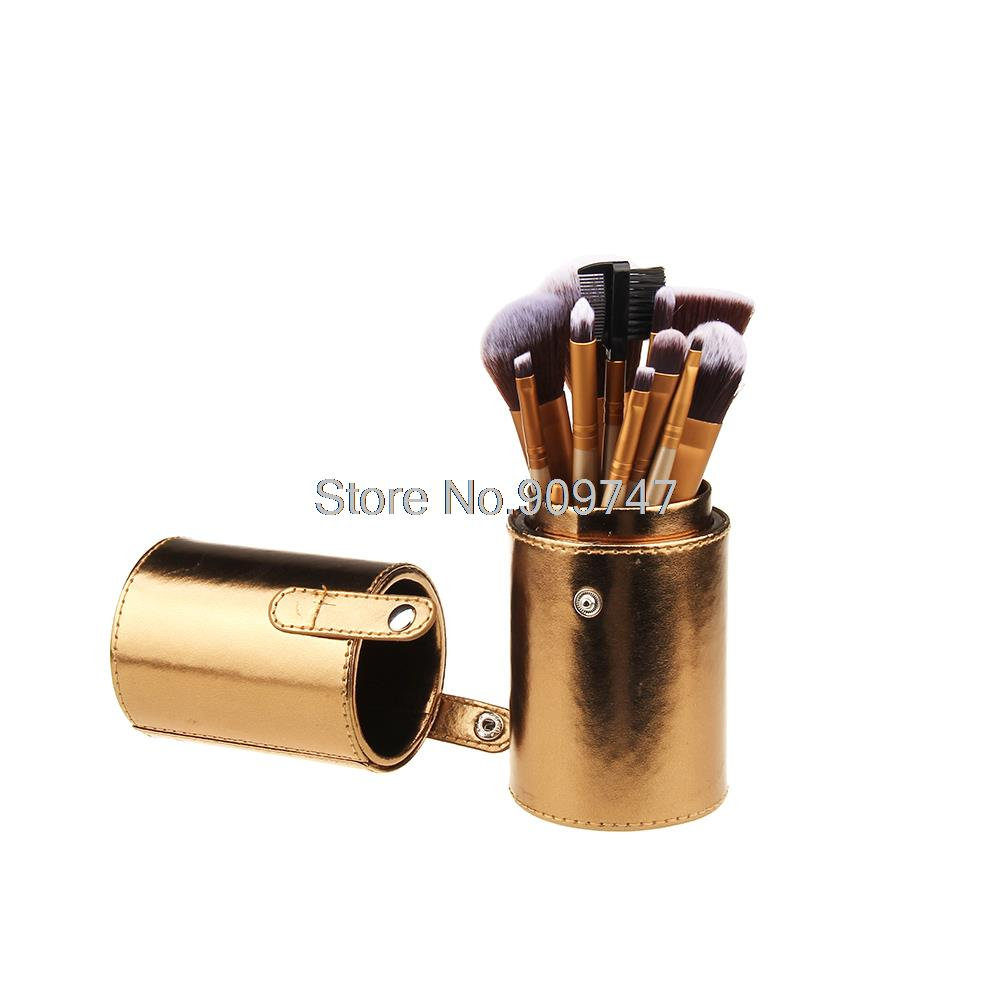 Professional 12 pcs Makeup Brush Set Coffee Bucket Foundation Power Eyeshadow brush Cylinder Cup Holder Cosmetic Brushes