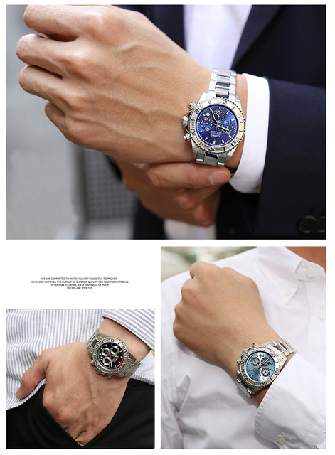 LOREO Seagull Mechanical Watch Men Multifunctional Diving 200M Steel Strap Man Business  Automatic Self-Wind Clock Male watches
