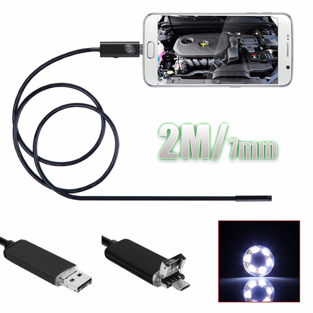 2In1 2M/6.5FT 7mm 6 LEDs Snake Endoscope Waterproof Borescope Micro USB Inspection Video Camera for Android & PC 1pcs 2m 7mm 6 led usb waterproof endoscope borescope snake inspection video camera hot sales