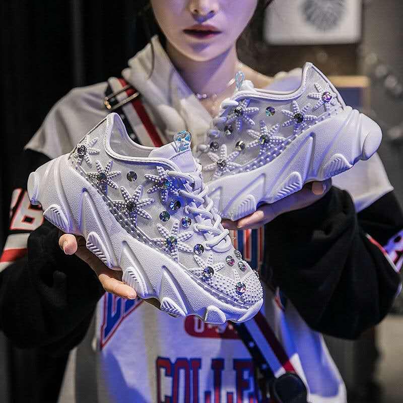 88c08a6c98bc Koovan/для женщин спортивная обувь Новинка 2019 года сетки горный хрусталь  толстая подошва Маффин склон