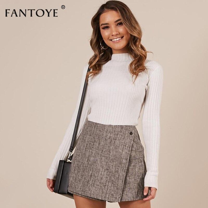 Fantoye Casual Wrap Plaid Button Skirt   Shorts   High Waist Patchwork Women Skirts 2018 Autumn Winter Asymmetrical Femme   Shorts