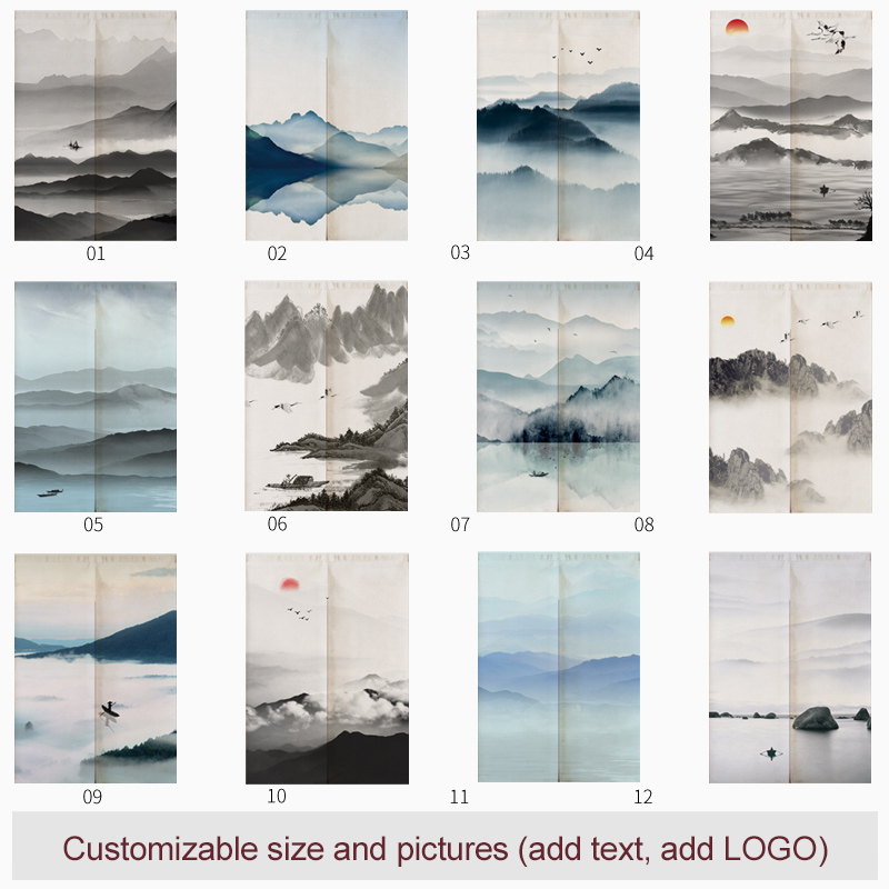 Japanese Mountain Ink Linen Door Curtain Noren Restaurant Kitchen Bedroom Curtains Home Decor Customizable Curtain