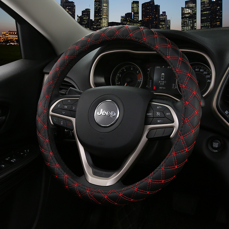 KKYSYELVA Cover for universal car steering wheels Leather Auto Steering Covers Car Interior Accessories
