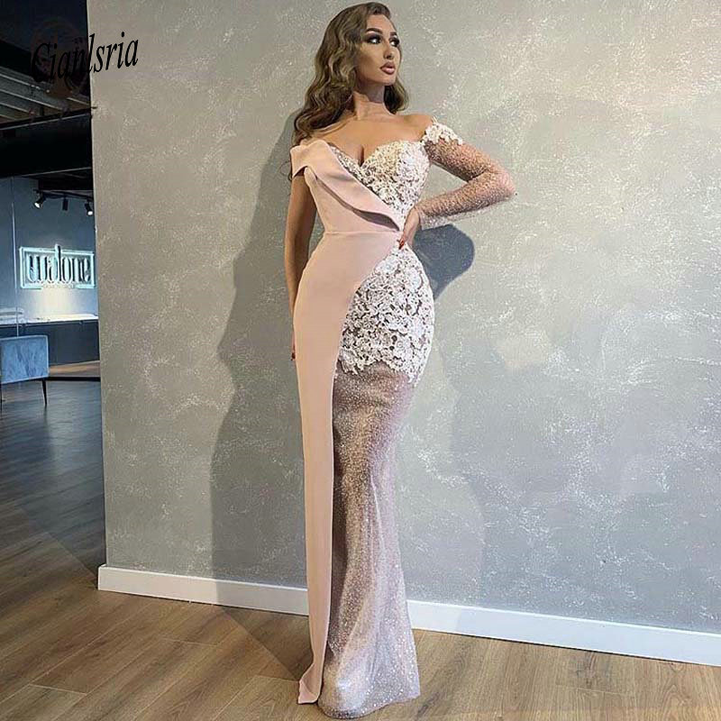 2019 Fashion Evening Dress Contrast Colors Off The Shoulder Sweetheart Long Sleeve Appliqued Lace Glitter Fabric Mermaid Dresses