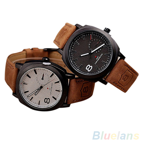 Unisex Mens Stylish Quartz Analog Faux Leather Band Wrist Watch